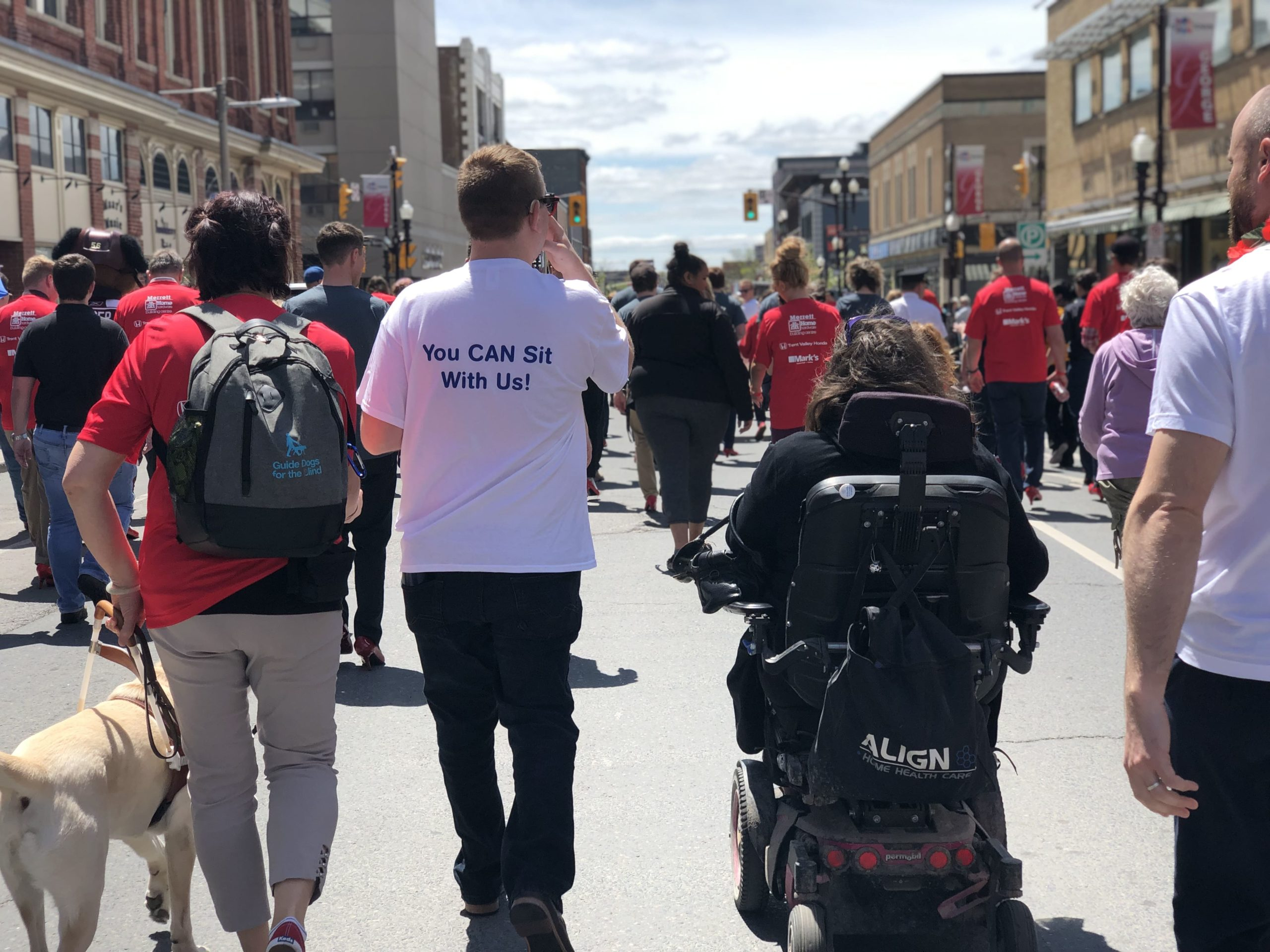 Image featuring the backs of adult individuals moving together down a street. One individual can be seen walking with a guide dog and another in a motorized wheelchair.